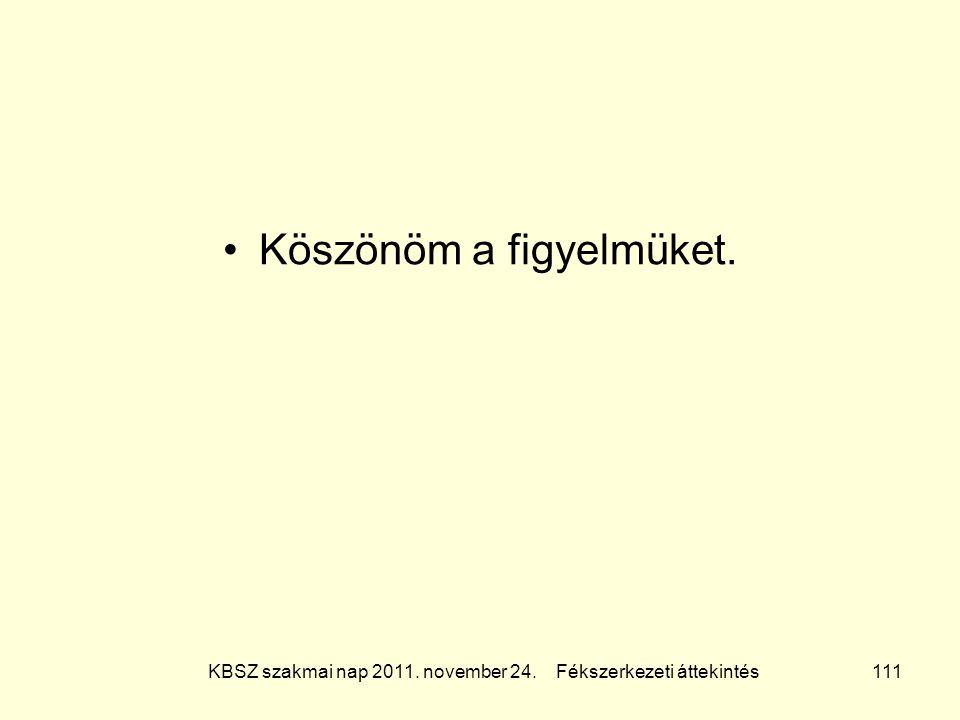 KBSZ szakmai nap 2011. november 24. Fékszerkezeti áttekintés 111 Köszönöm a figyelmüket.