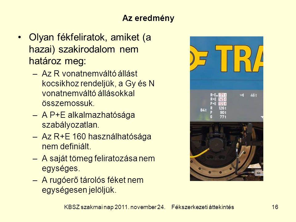 KBSZ szakmai nap 2011. november 24. Fékszerkezeti áttekintés 16 Az eredmény Olyan fékfeliratok, amiket (a hazai) szakirodalom nem határoz meg: –Az R v