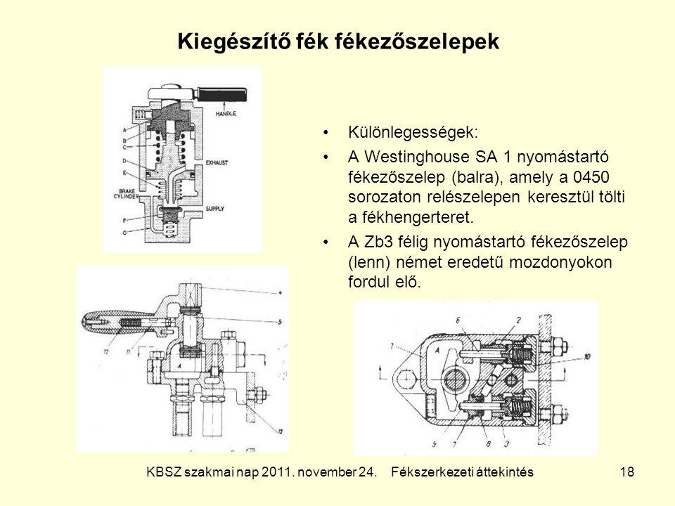 KBSZ szakmai nap 2011. november 24. Fékszerkezeti áttekintés 18 Kiegészítő fék fékezőszelepek Különlegességek: A Westinghouse SA 1 nyomástartó fékezős
