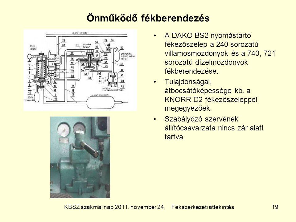 KBSZ szakmai nap 2011. november 24. Fékszerkezeti áttekintés 19 Önműködő fékberendezés A DAKO BS2 nyomástartó fékezőszelep a 240 sorozatú villamosmozd