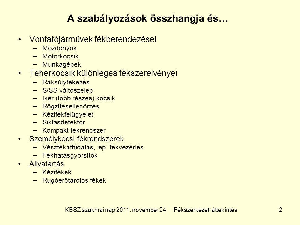 KBSZ szakmai nap 2011. november 24. Fékszerkezeti áttekintés 2 A szabályozások összhangja és… Vontatójárművek fékberendezései –Mozdonyok –Motorkocsik