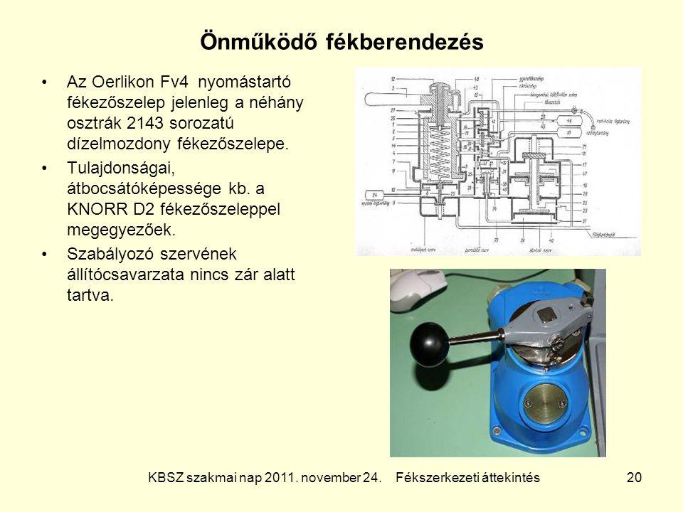 KBSZ szakmai nap 2011. november 24. Fékszerkezeti áttekintés 20 Önműködő fékberendezés Az Oerlikon Fv4 nyomástartó fékezőszelep jelenleg a néhány oszt