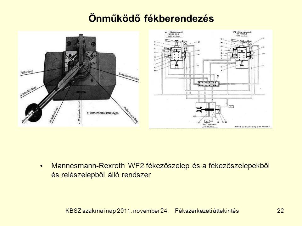 KBSZ szakmai nap 2011. november 24. Fékszerkezeti áttekintés 22 Önműködő fékberendezés Mannesmann-Rexroth WF2 fékezőszelep és a fékezőszelepekből és r