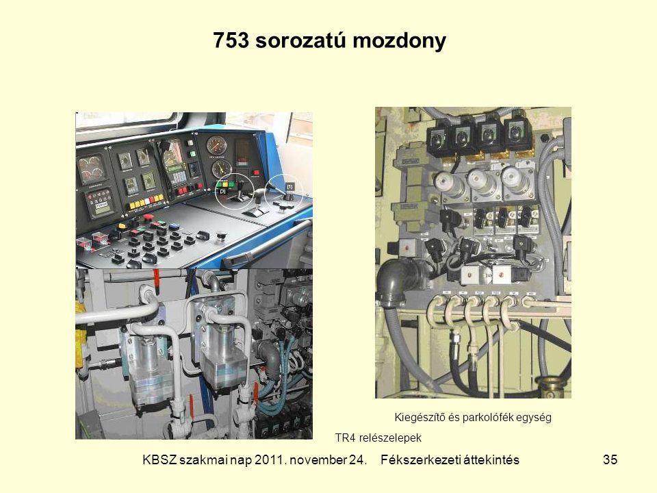 KBSZ szakmai nap 2011. november 24. Fékszerkezeti áttekintés 35 753 sorozatú mozdony TR4 relészelepek Kiegészítő és parkolófék egység
