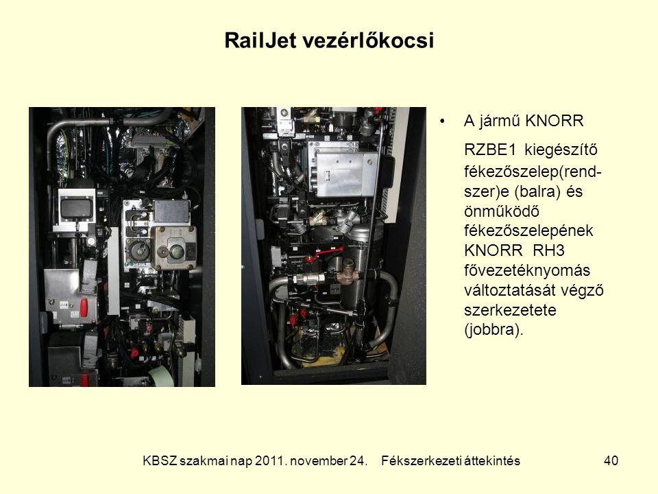 KBSZ szakmai nap 2011. november 24. Fékszerkezeti áttekintés 40 RailJet vezérlőkocsi A jármű KNORR RZBE1 kiegészítő fékezőszelep(rend- szer)e (balra)