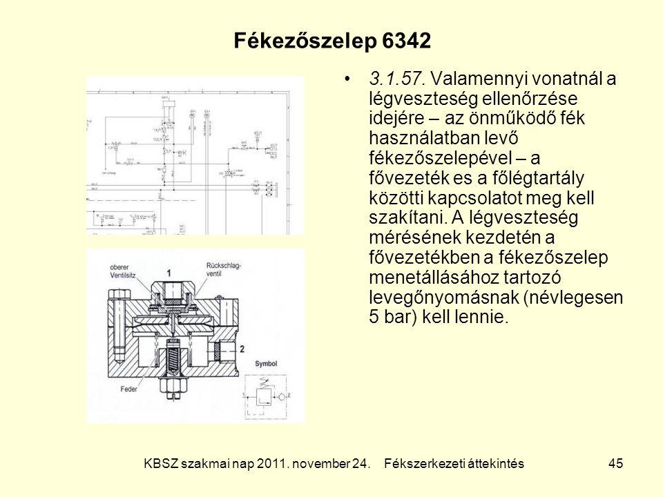KBSZ szakmai nap 2011. november 24. Fékszerkezeti áttekintés 45 Fékezőszelep 6342 3.1.57. Valamennyi vonatnál a légveszteség ellenőrzése idejére – az
