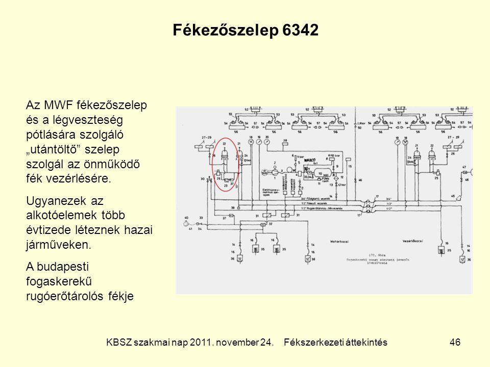 """KBSZ szakmai nap 2011. november 24. Fékszerkezeti áttekintés 46 Fékezőszelep 6342 Az MWF fékezőszelep és a légveszteség pótlására szolgáló """"utántöltő"""""""