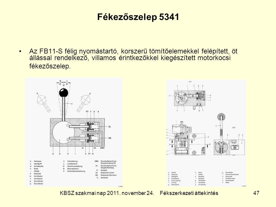 KBSZ szakmai nap 2011. november 24. Fékszerkezeti áttekintés 47 Fékezőszelep 5341 Az FB11-S félig nyomástartó, korszerű tömítőelemekkel felépített, öt