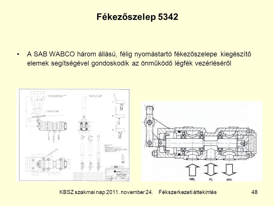 KBSZ szakmai nap 2011. november 24. Fékszerkezeti áttekintés 48 Fékezőszelep 5342 A SAB WABCO három állású, félig nyomástartó fékezőszelepe kiegészítő