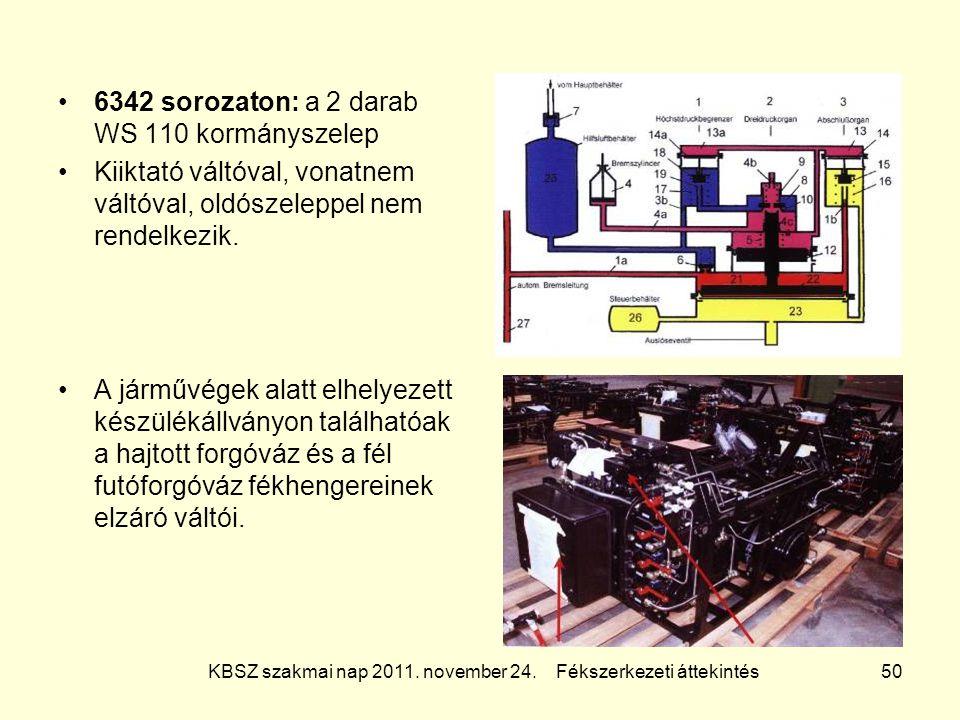 KBSZ szakmai nap 2011. november 24. Fékszerkezeti áttekintés 50 6342 sorozaton: a 2 darab WS 110 kormányszelep Kiiktató váltóval, vonatnem váltóval, o