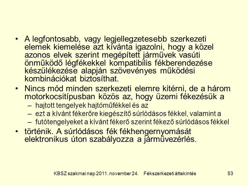 KBSZ szakmai nap 2011. november 24. Fékszerkezeti áttekintés 53 A legfontosabb, vagy legjellegzetesebb szerkezeti elemek kiemelése azt kívánta igazoln