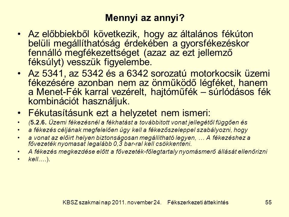 KBSZ szakmai nap 2011. november 24. Fékszerkezeti áttekintés 55 Mennyi az annyi? Az előbbiekből következik, hogy az általános fékúton belüli megállíth