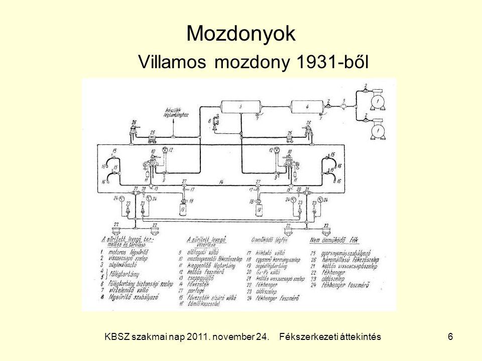 KBSZ szakmai nap 2011. november 24. Fékszerkezeti áttekintés 6 Mozdonyok Villamos mozdony 1931-ből
