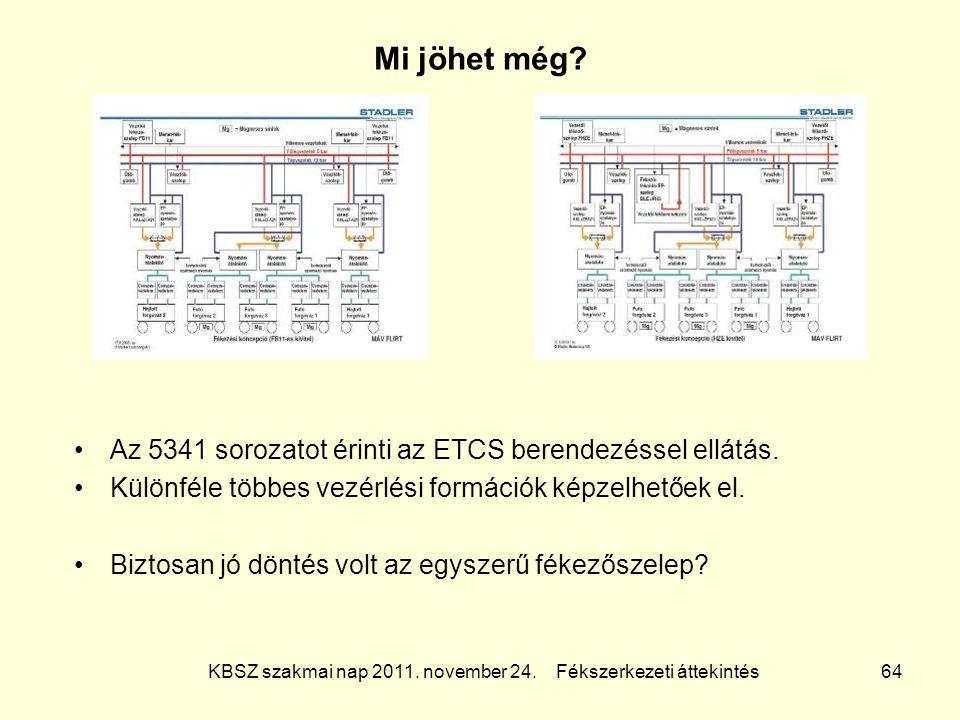 KBSZ szakmai nap 2011. november 24. Fékszerkezeti áttekintés 64 Mi jöhet még? Az 5341 sorozatot érinti az ETCS berendezéssel ellátás. Különféle többes