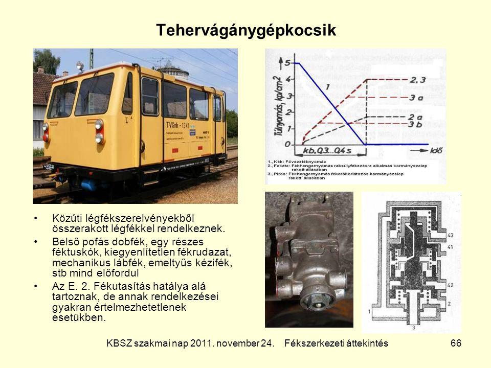 KBSZ szakmai nap 2011. november 24. Fékszerkezeti áttekintés 66 Tehervágánygépkocsik Közúti légfékszerelvényekből összerakott légfékkel rendelkeznek.
