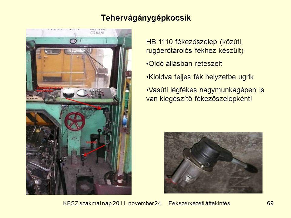 KBSZ szakmai nap 2011. november 24. Fékszerkezeti áttekintés 69 Tehervágánygépkocsik HB 1110 fékezőszelep (közúti, rugóerőtárolós fékhez készült) Oldó