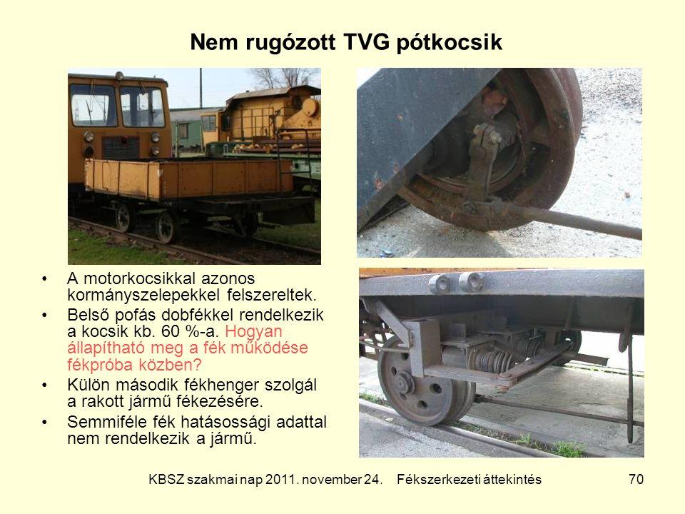 KBSZ szakmai nap 2011. november 24. Fékszerkezeti áttekintés 70 Nem rugózott TVG pótkocsik A motorkocsikkal azonos kormányszelepekkel felszereltek. Be