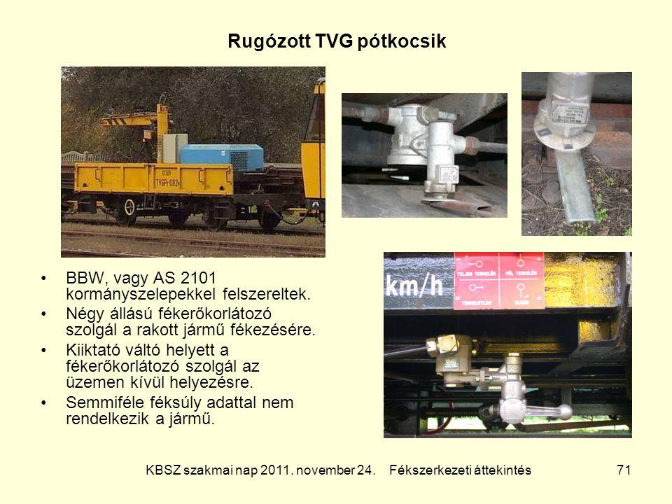 KBSZ szakmai nap 2011. november 24. Fékszerkezeti áttekintés 71 Rugózott TVG pótkocsik BBW, vagy AS 2101 kormányszelepekkel felszereltek. Négy állású