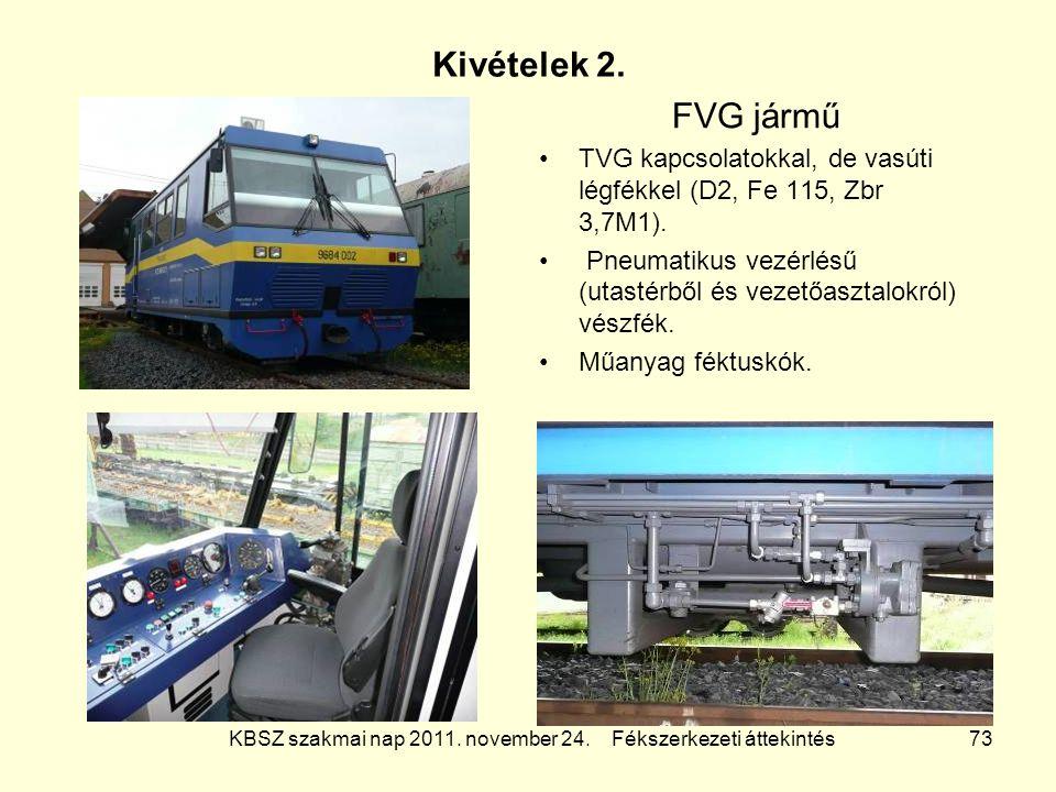 KBSZ szakmai nap 2011. november 24. Fékszerkezeti áttekintés 73 Kivételek 2. FVG jármű TVG kapcsolatokkal, de vasúti légfékkel (D2, Fe 115, Zbr 3,7M1)