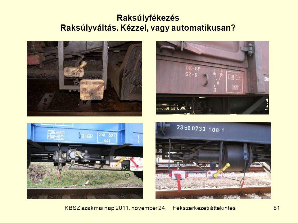 KBSZ szakmai nap 2011. november 24. Fékszerkezeti áttekintés 81 Raksúlyfékezés Raksúlyváltás. Kézzel, vagy automatikusan?