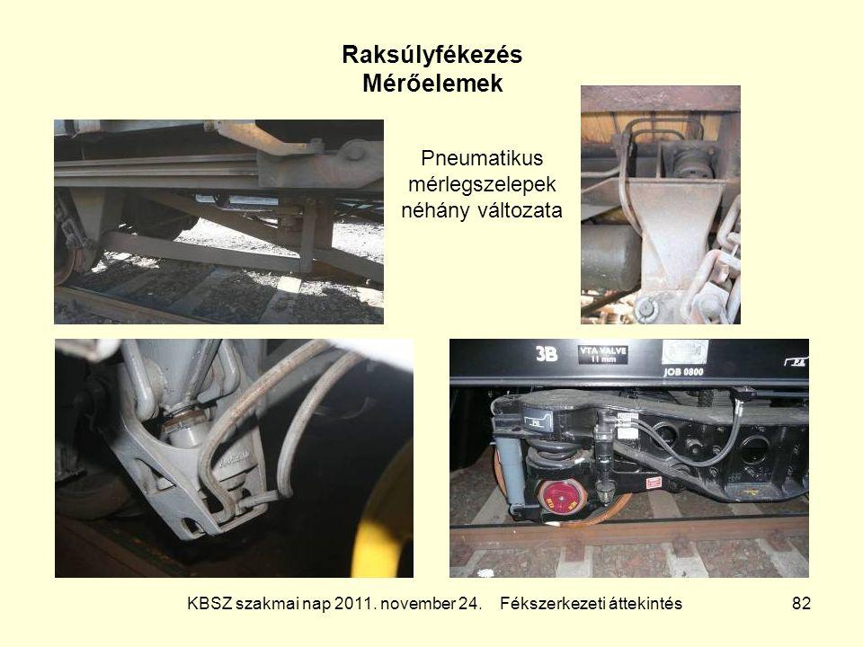 KBSZ szakmai nap 2011. november 24. Fékszerkezeti áttekintés 82 Raksúlyfékezés Mérőelemek Pneumatikus mérlegszelepek néhány változata
