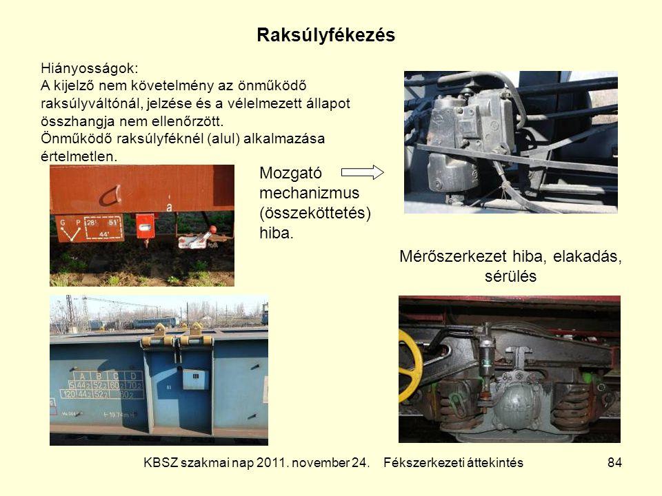 KBSZ szakmai nap 2011. november 24. Fékszerkezeti áttekintés 84 Raksúlyfékezés Hiányosságok: A kijelző nem követelmény az önműködő raksúlyváltónál, je