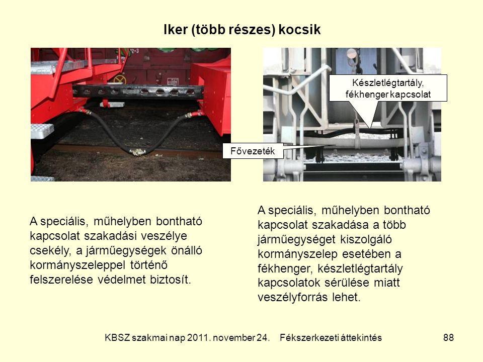 KBSZ szakmai nap 2011. november 24. Fékszerkezeti áttekintés 88 Iker (több részes) kocsik A speciális, műhelyben bontható kapcsolat szakadási veszélye