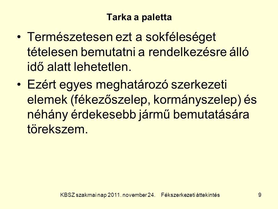 KBSZ szakmai nap 2011. november 24. Fékszerkezeti áttekintés 9 Tarka a paletta Természetesen ezt a sokféleséget tételesen bemutatni a rendelkezésre ál