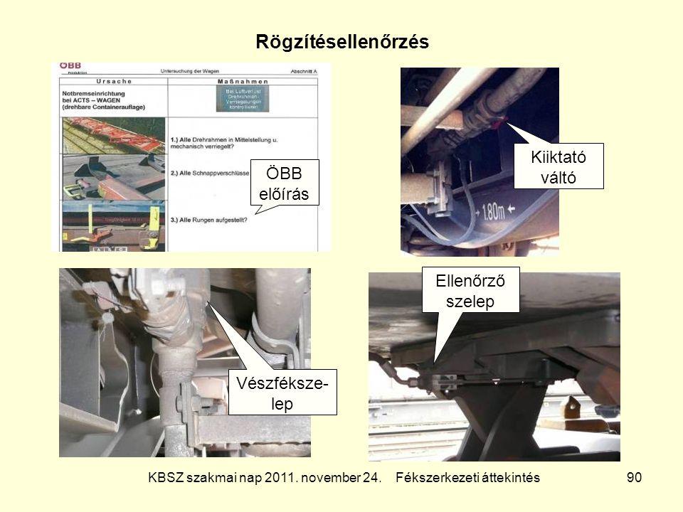 KBSZ szakmai nap 2011. november 24. Fékszerkezeti áttekintés 90 Rögzítésellenőrzés ÖBB előírás Kiiktató váltó Vészféksze- lep Ellenőrző szelep