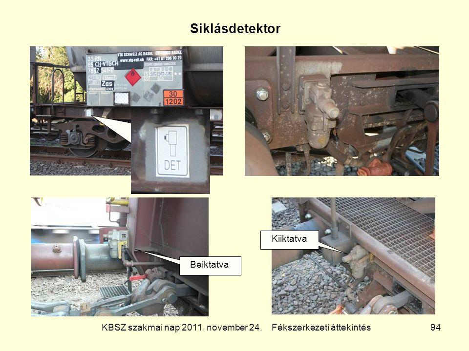 KBSZ szakmai nap 2011. november 24. Fékszerkezeti áttekintés 94 Siklásdetektor Beiktatva Kiiktatva