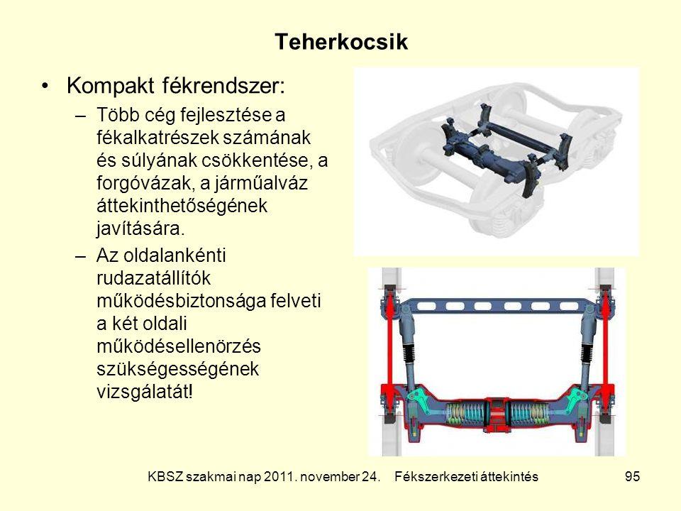 KBSZ szakmai nap 2011. november 24. Fékszerkezeti áttekintés 95 Teherkocsik Kompakt fékrendszer: –Több cég fejlesztése a fékalkatrészek számának és sú