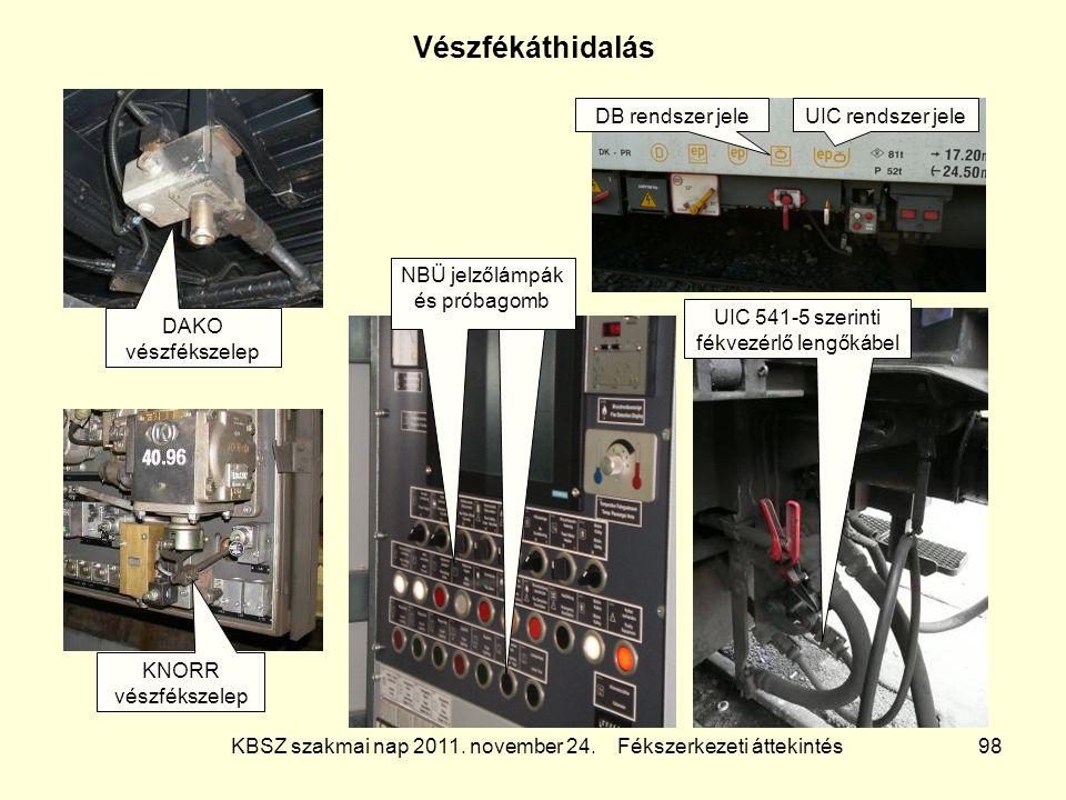 KBSZ szakmai nap 2011. november 24. Fékszerkezeti áttekintés 98 Vészfékáthidalás DB rendszer jeleUIC rendszer jele UIC 541-5 szerinti fékvezérlő lengő