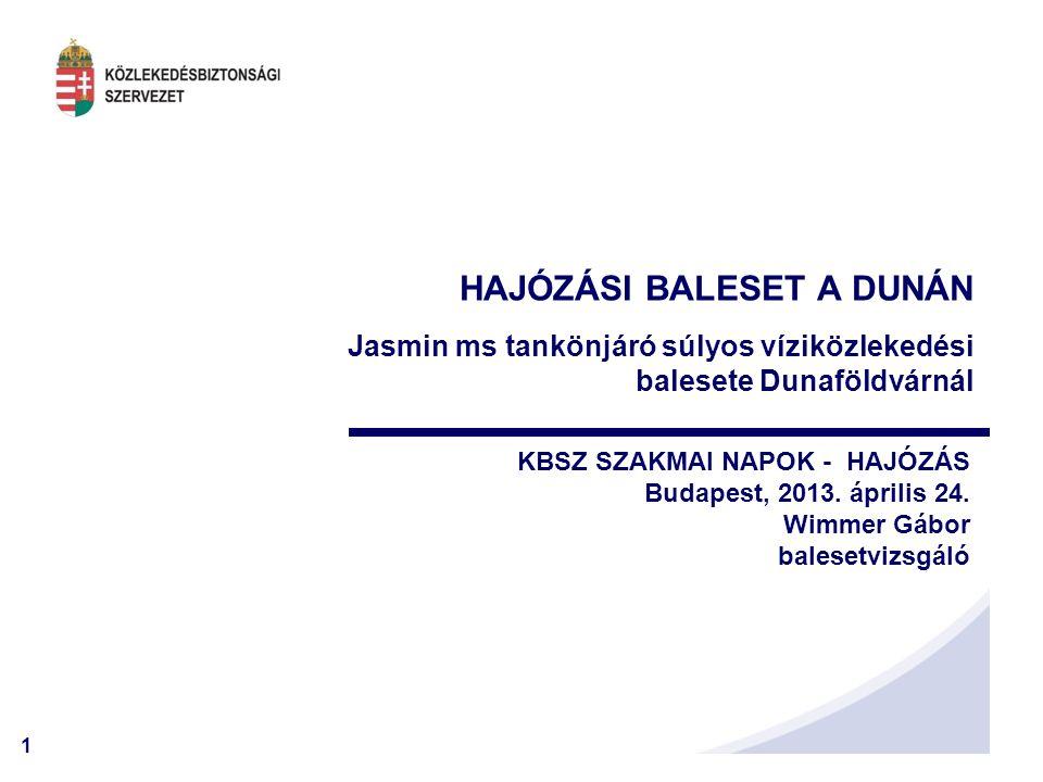 1 HAJÓZÁSI BALESET A DUNÁN Jasmin ms tankönjáró súlyos víziközlekedési balesete Dunaföldvárnál KBSZ SZAKMAI NAPOK - HAJÓZÁS Budapest, 2013. április 24