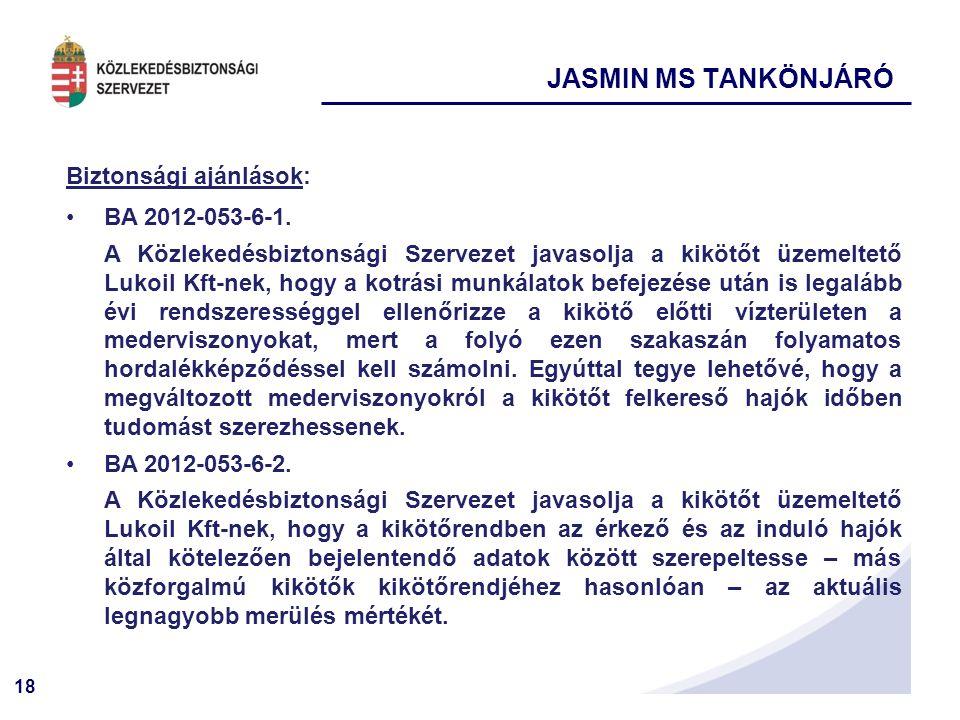 18 Biztonsági ajánlások: BA 2012-053-6-1. A Közlekedésbiztonsági Szervezet javasolja a kikötőt üzemeltető Lukoil Kft-nek, hogy a kotrási munkálatok be