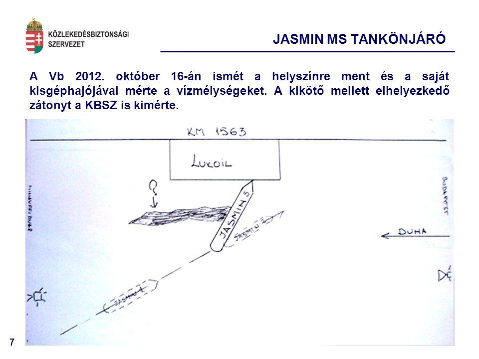 7 A Vb 2012. október 16-án ismét a helyszínre ment és a saját kisgéphajójával mérte a vízmélységeket. A kikötő mellett elhelyezkedő zátonyt a KBSZ is