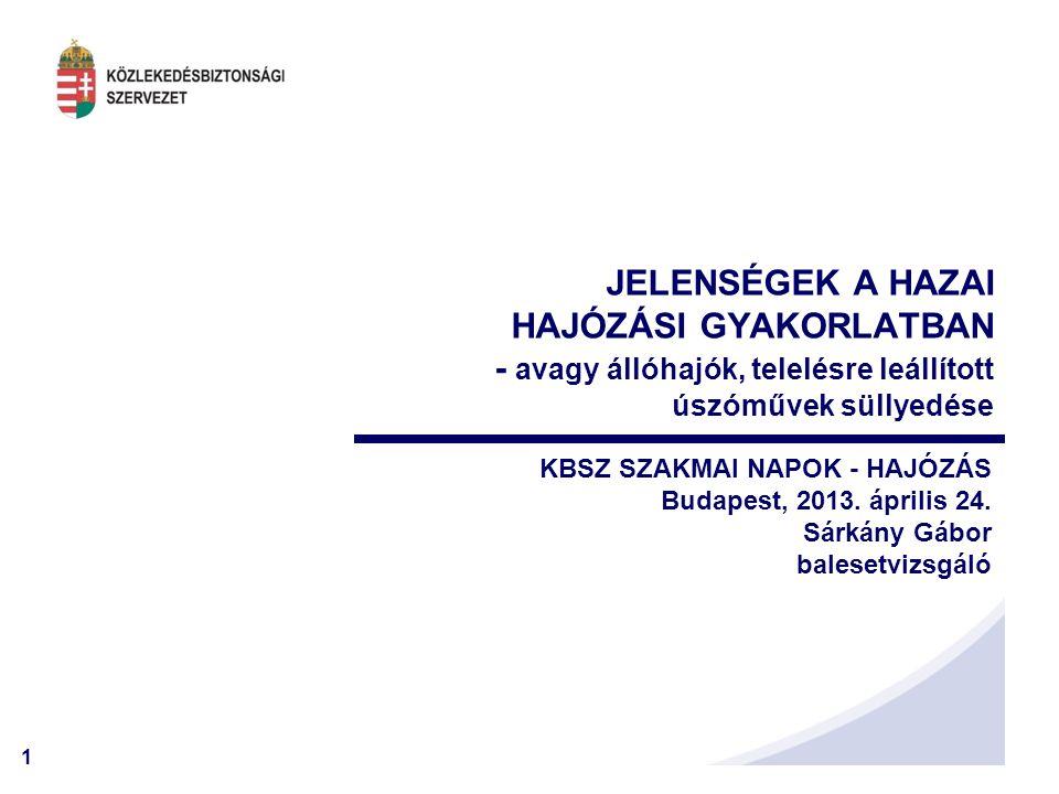 1 KBSZ SZAKMAI NAPOK - HAJÓZÁS Budapest, 2013. április 24. Sárkány Gábor balesetvizsgáló JELENSÉGEK A HAZAI HAJÓZÁSI GYAKORLATBAN - avagy állóhajók, t