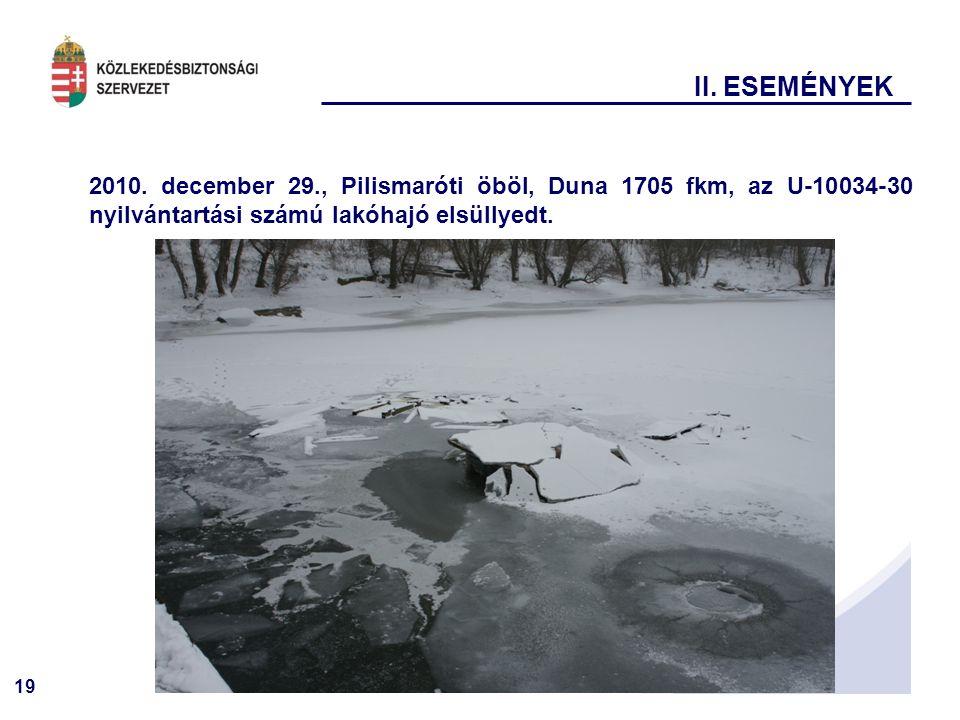 19 II. ESEMÉNYEK 2010. december 29., Pilismaróti öböl, Duna 1705 fkm, az U-10034-30 nyilvántartási számú lakóhajó elsüllyedt.