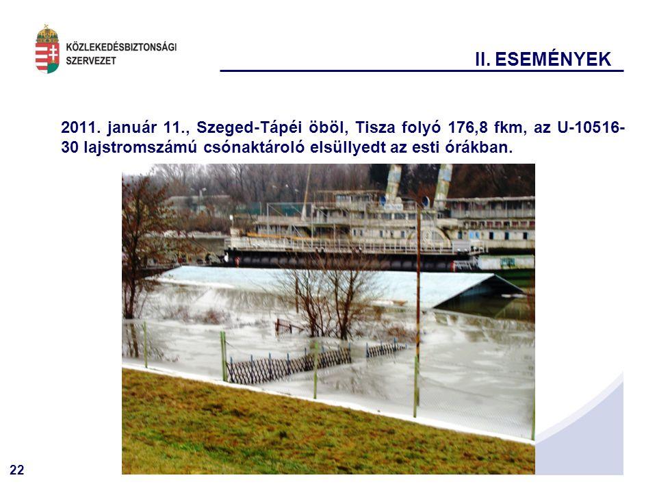 22 II. ESEMÉNYEK 2011. január 11., Szeged-Tápéi öböl, Tisza folyó 176,8 fkm, az U-10516- 30 lajstromszámú csónaktároló elsüllyedt az esti órákban.
