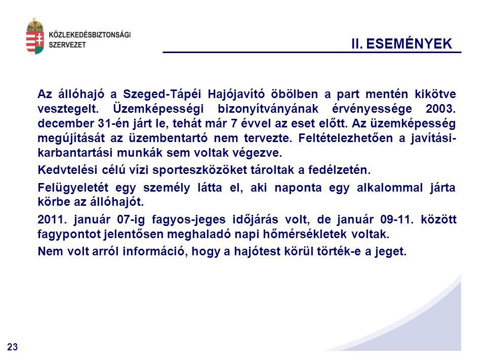 23 II. ESEMÉNYEK Az állóhajó a Szeged-Tápéi Hajójavító öbölben a part mentén kikötve vesztegelt. Üzemképességi bizonyítványának érvényessége 2003. dec