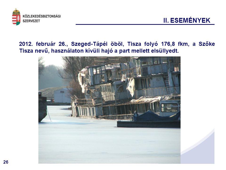 26 2012. február 26., Szeged-Tápéi öböl, Tisza folyó 176,8 fkm, a Szőke Tisza nevű, használaton kívüli hajó a part mellett elsüllyedt. II. ESEMÉNYEK