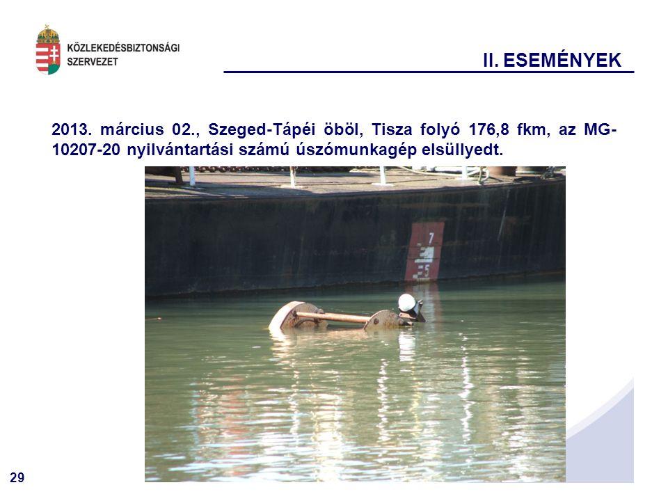 29 2013. március 02., Szeged-Tápéi öböl, Tisza folyó 176,8 fkm, az MG- 10207-20 nyilvántartási számú úszómunkagép elsüllyedt. II. ESEMÉNYEK