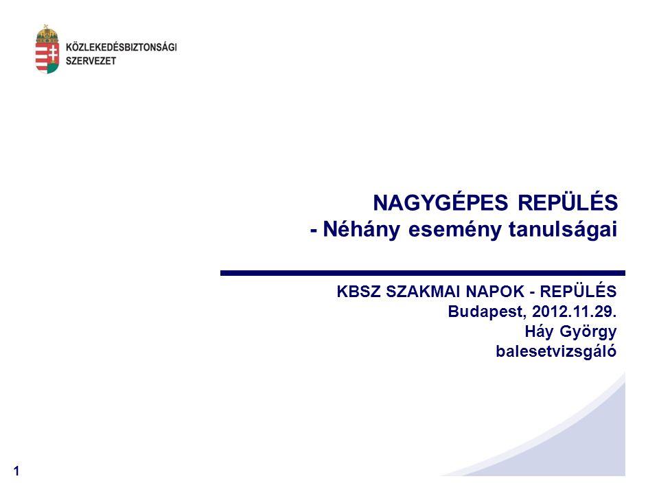 1 NAGYGÉPES REPÜLÉS - Néhány esemény tanulságai KBSZ SZAKMAI NAPOK - REPÜLÉS Budapest, 2012.11.29.