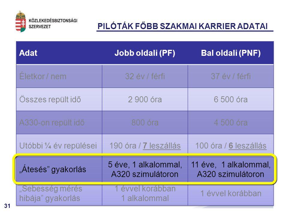 31 PILÓTÁK FŐBB SZAKMAI KARRIER ADATAI