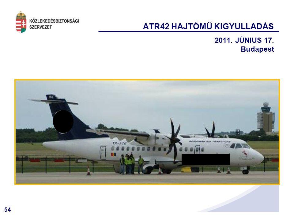 54 ATR42 HAJTÓMŰ KIGYULLADÁS 2011. JÚNIUS 17. Budapest