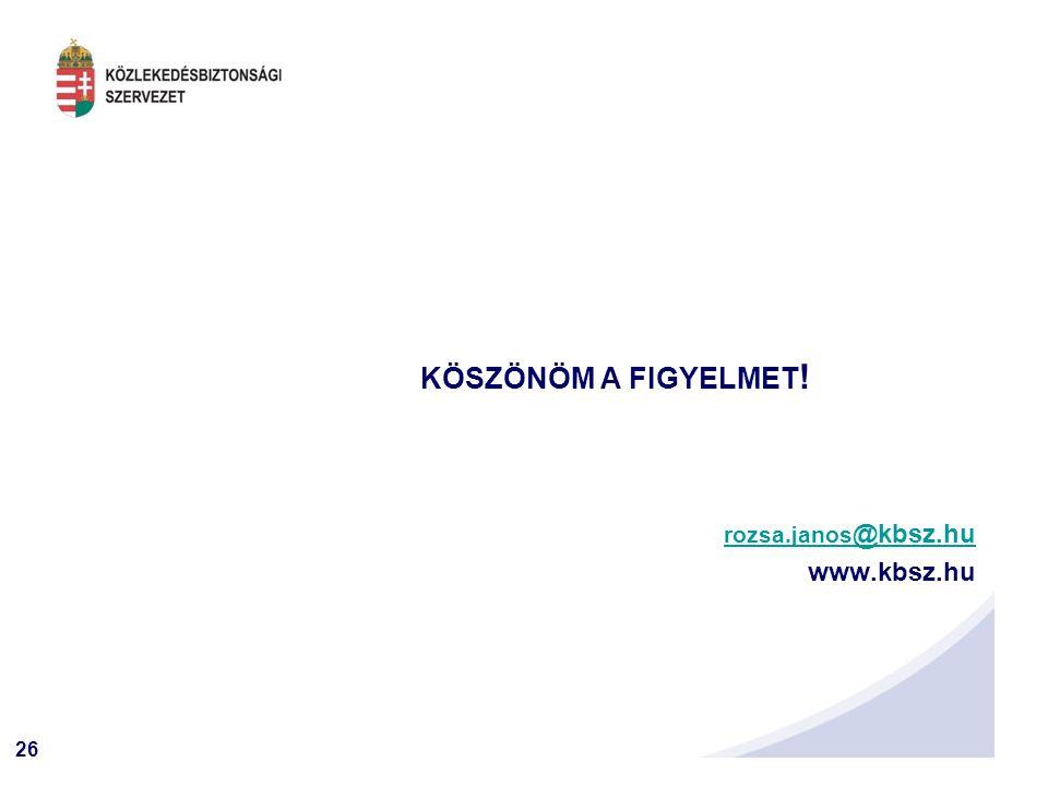 26 KÖSZÖNÖM A FIGYELMET ! rozsa.janos @kbsz.hurozsa.janos @kbsz.hu www.kbsz.hu