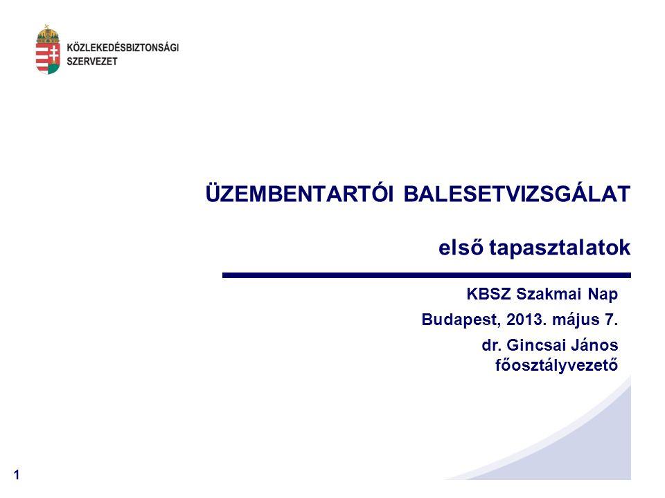 1 ÜZEMBENTARTÓI BALESETVIZSGÁLAT első tapasztalatok KBSZ Szakmai Nap Budapest, 2013.