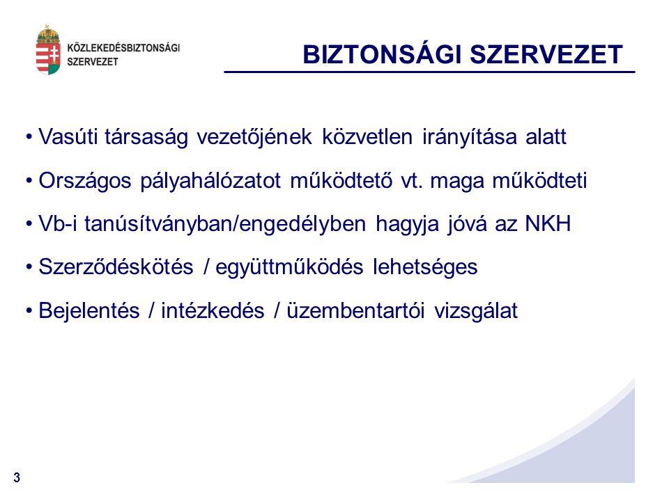 3 BIZTONSÁGI SZERVEZET Vasúti társaság vezetőjének közvetlen irányítása alatt Országos pályahálózatot működtető vt.
