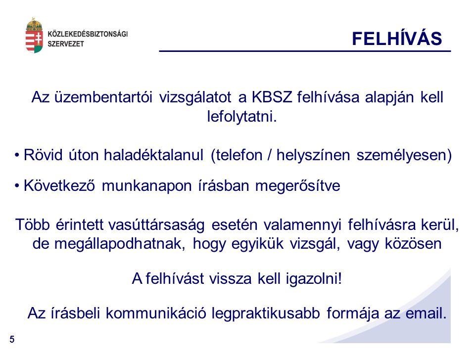 5 FELHÍVÁS Az üzembentartói vizsgálatot a KBSZ felhívása alapján kell lefolytatni.