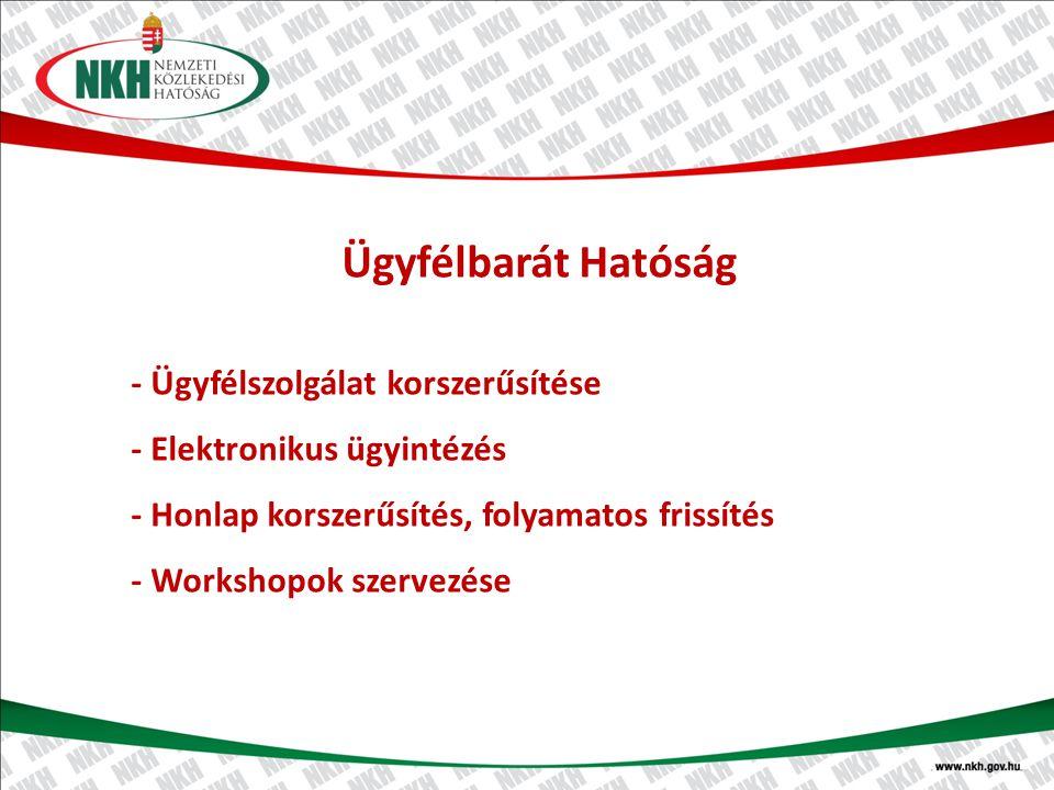 Ügyfélbarát Hatóság - Ügyfélszolgálat korszerűsítése - Elektronikus ügyintézés - Honlap korszerűsítés, folyamatos frissítés - Workshopok szervezése