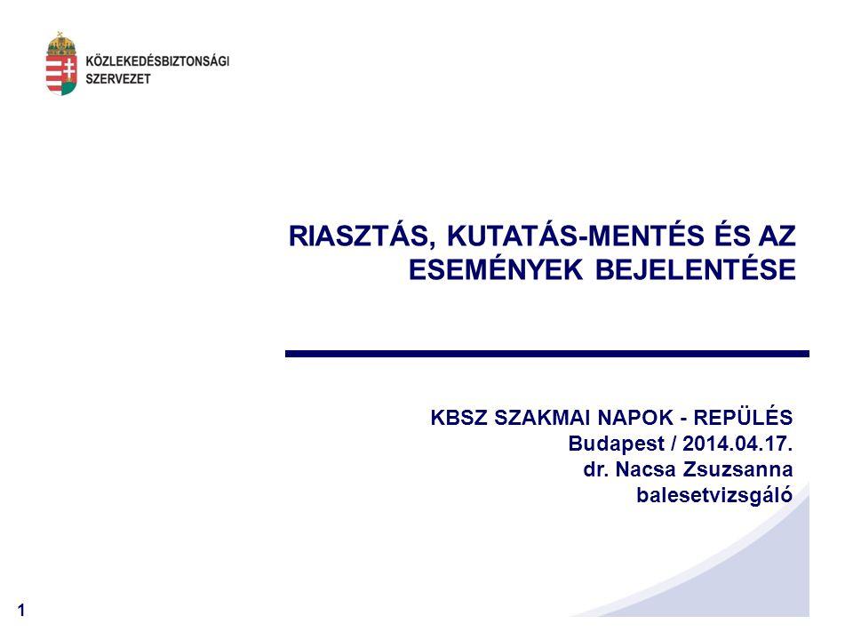 1 RIASZTÁS, KUTATÁS-MENTÉS ÉS AZ ESEMÉNYEK BEJELENTÉSE KBSZ SZAKMAI NAPOK - REPÜLÉS Budapest / 2014.04.17. dr. Nacsa Zsuzsanna balesetvizsgáló